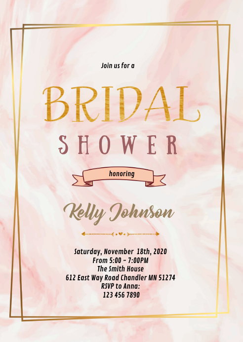 Marble shower theme invitation A6 template