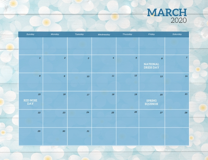 March 2020 Event Calendar Template Iflaya (Incwadi ye-US)