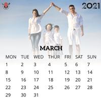 March 2021 calendar Instagram 帖子 template