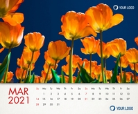 March 2021 Calendar Printable Template Rectangle moyen
