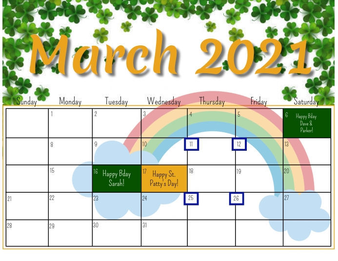 MARCH 2021 Flyer (US Letter) template