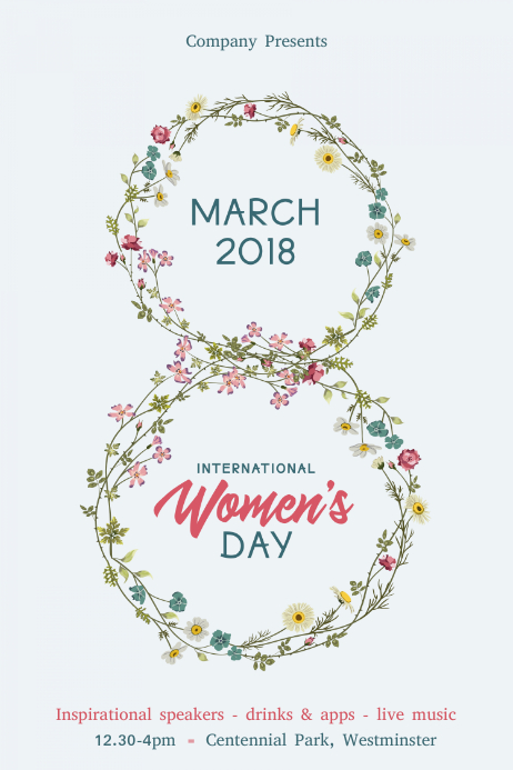 March 8 International Women's Day 海报 template