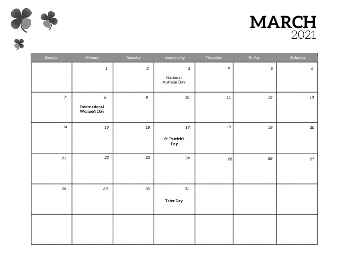 March Event Calendar template Pamflet (Letter AS)