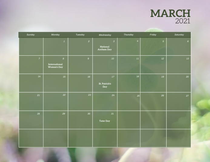 march Event Calendar template Flyer (US Letter)