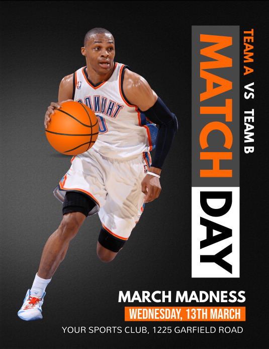 March Madness, basketball, sports Løbeseddel (US Letter) template