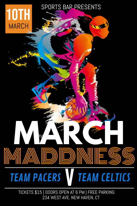 march madness, basketball game Póster template