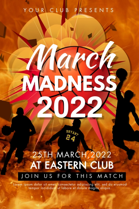 march madness, event, basketball Poster template