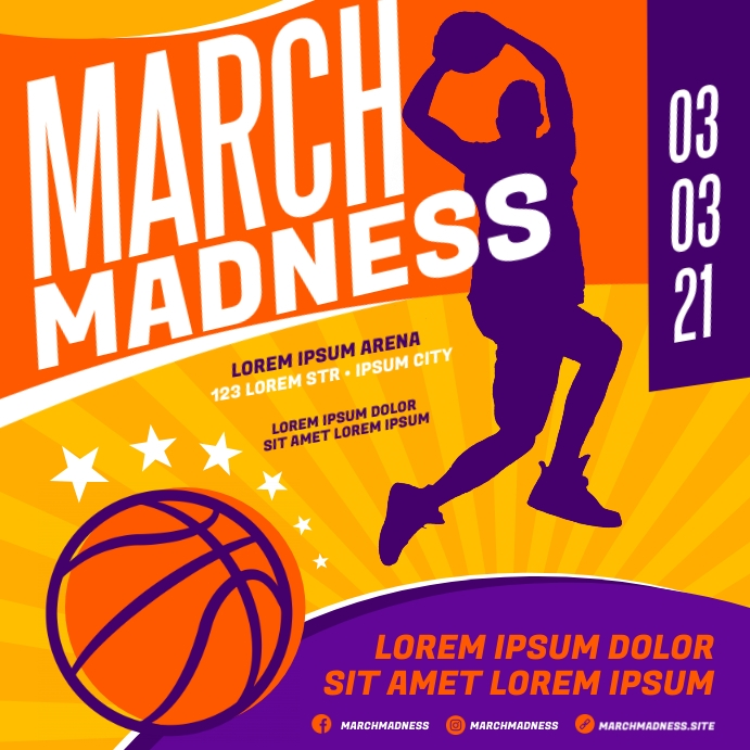 MARCH MADNESS BASKETBALL BANNER Instagram-opslag template