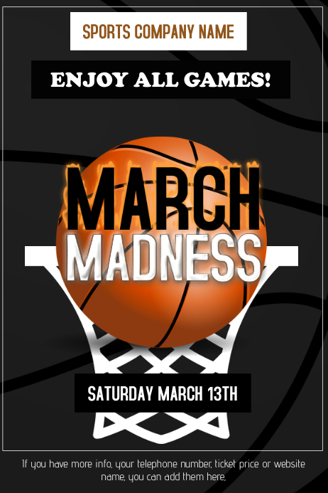 march madness basketball flame poster template