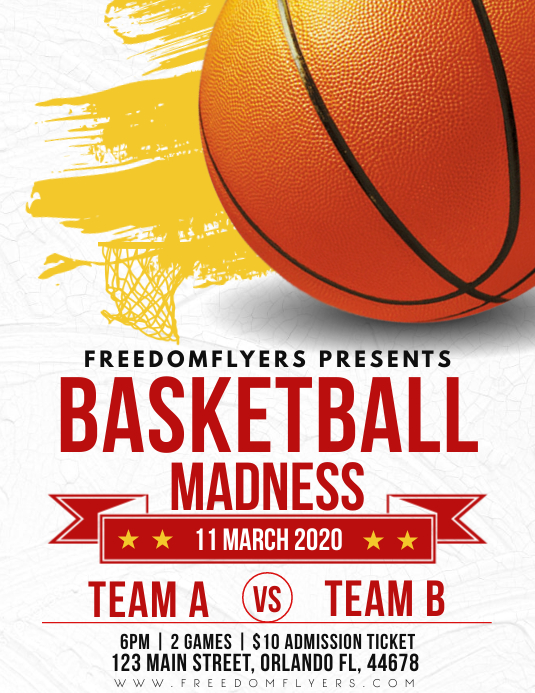 March Madness Basketball Flyer Templae Pamflet (Letter AS) template