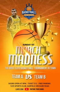 March Madness - Basketball Flyer Template Half Page Wide