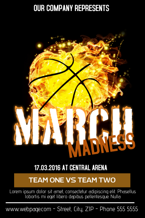 march madness basketball flyer template