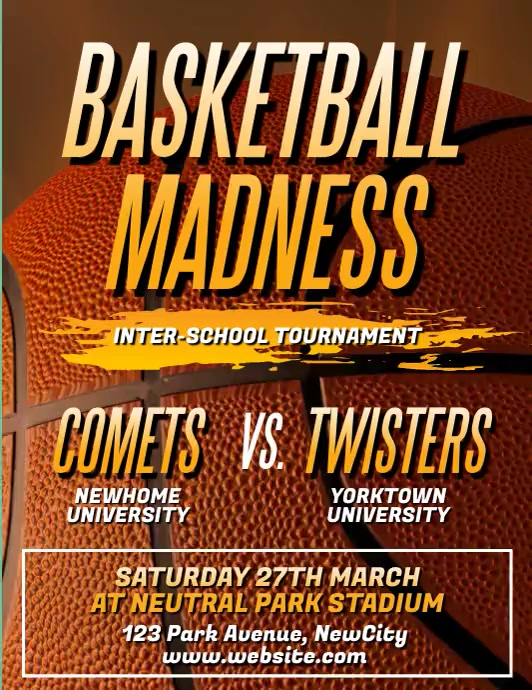 March Madness Basketball Video Flyer Pamflet (Letter AS) template