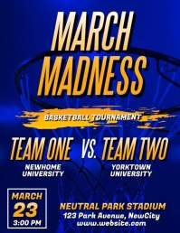 March Madness Basketball Video Flyer Folheto (US Letter) template