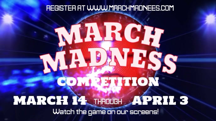 March Madness Competition Event Video Template Ecrã digital (16:9)