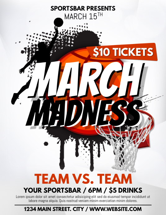 MARCH MADNESS Volantino (US Letter) template