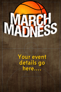 March Madness Event Flyer Party Poster Basketball Bar Sports
