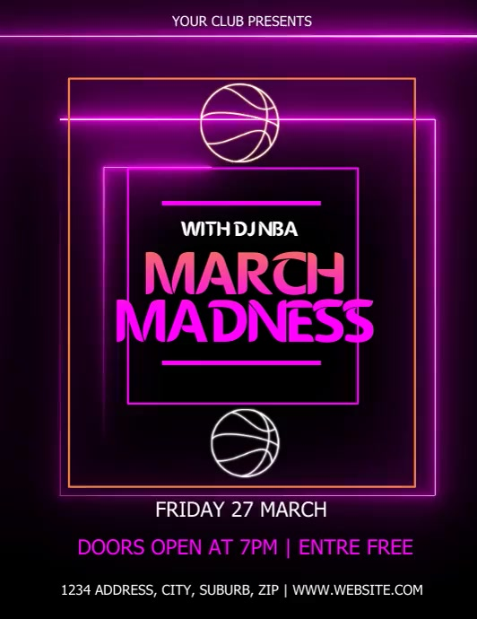MARCH MADNESS EVENT VIDEO TEMPLATE Ulotka (US Letter)
