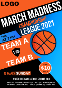 March madness flyer A4 template