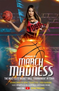 March Madness Flyer Template Half Page Wide
