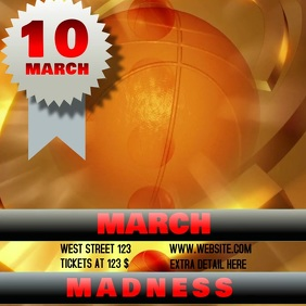 MARCH MADNESS TEMPLATE DIGITAL FLYER VIDEO Carré (1:1)