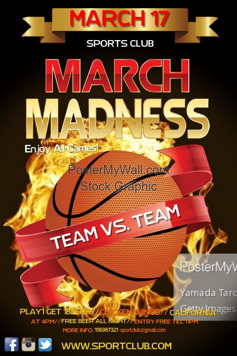 Calendar Year At A Glance : March madness template postermywall