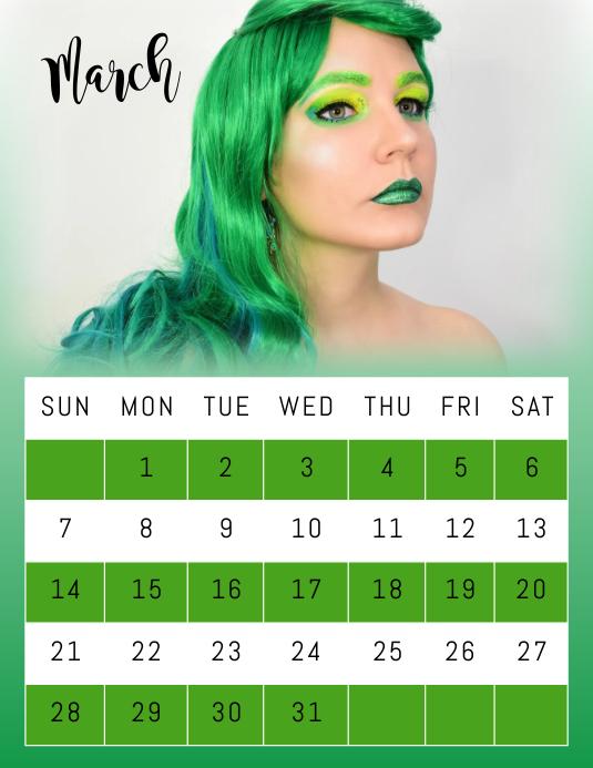 March Photo Calendar Flyer Template Pamflet (Letter AS)