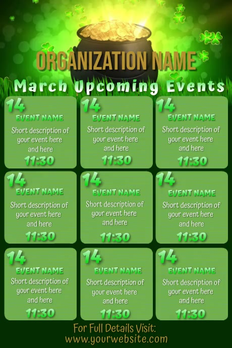 March Pot of Gold Video Upcoming Events Calen Póster template