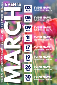 March Spring Event Schedule Calendar Template Poster