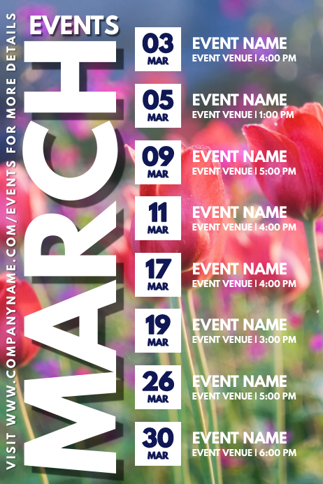March Spring Event Schedule Calendar Template