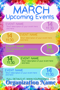 March Upcoming Events Affiche template