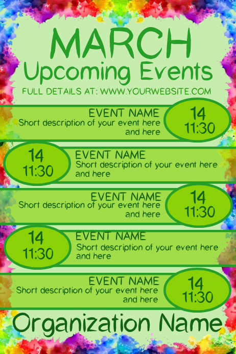 March Upcoming Events Poster template
