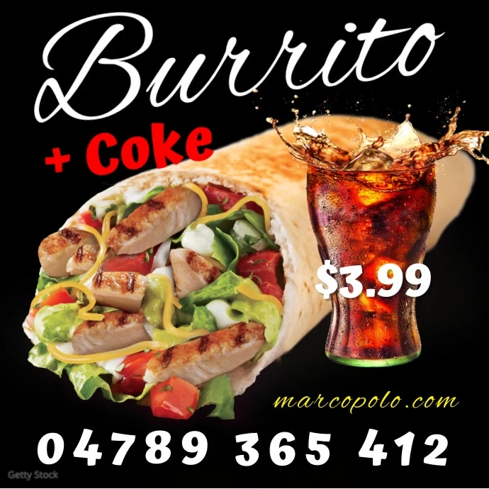 Marco Polo Burrito Instagram Square (1:1) template