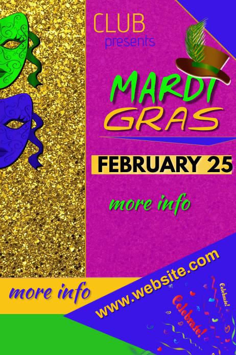 Mardi Gras 2020 Poster template