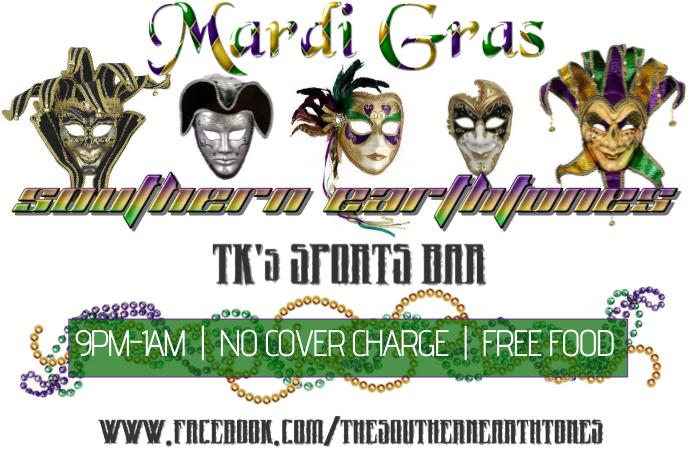 Mardi Gras Band Bar Flyer