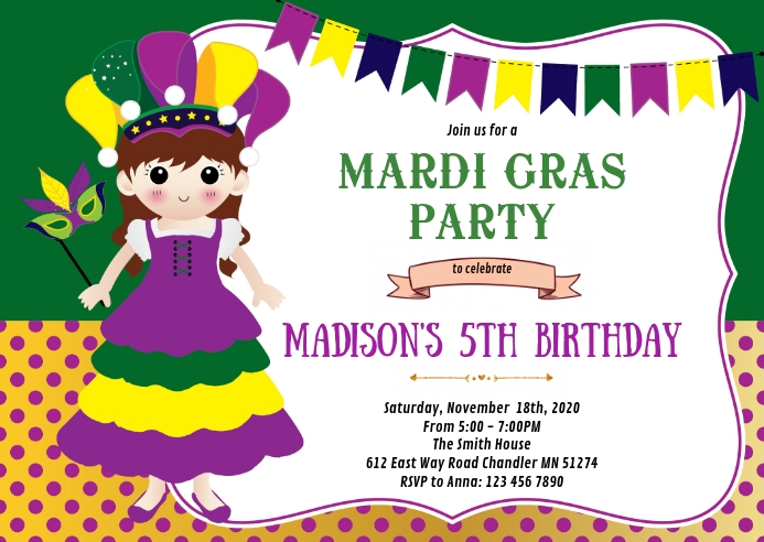 Mardi gras birthday party invitation