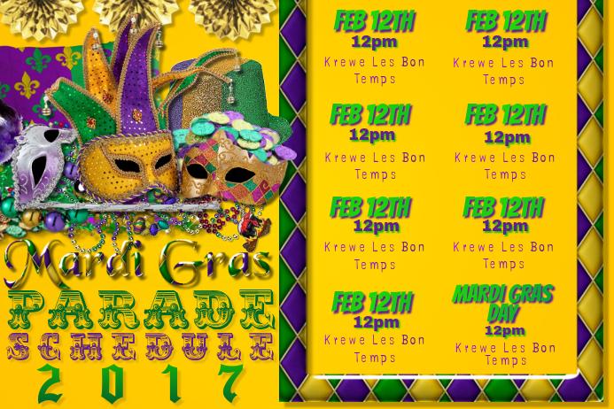 Mardi Gras Calendar Parade Float Schedule Masquerade Party