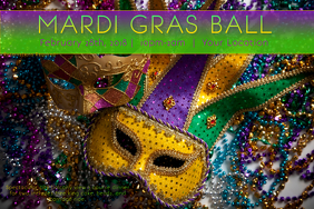 Mardi Gras Carnival Mask Purple Green Gold Parade Ball Fat