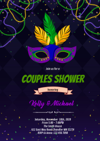 Mardi Gras couples shower invitation A6 template