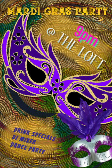 mardi gras Dance Party Club Poster Template