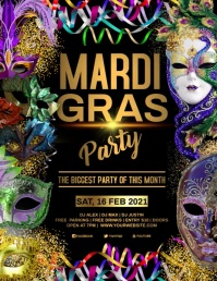 MARDI GRAS Pamflet (Letter AS) template