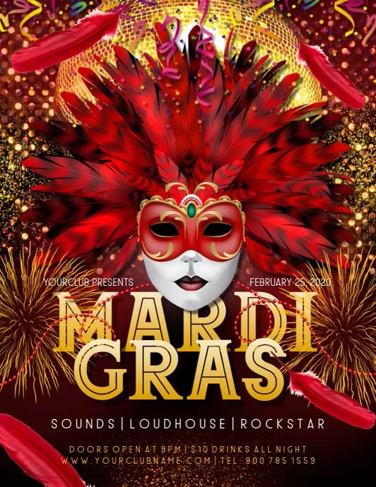 Mardi Gras Flyer (Letter pang-US) template