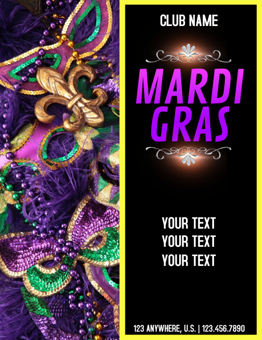 mardi gras Flyer (US Letter) template