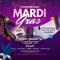 Mardi Gras Event Instagram Post Instagram-opslag template
