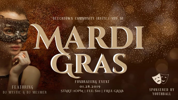 Mardi Gras Event Invitation Digital Display