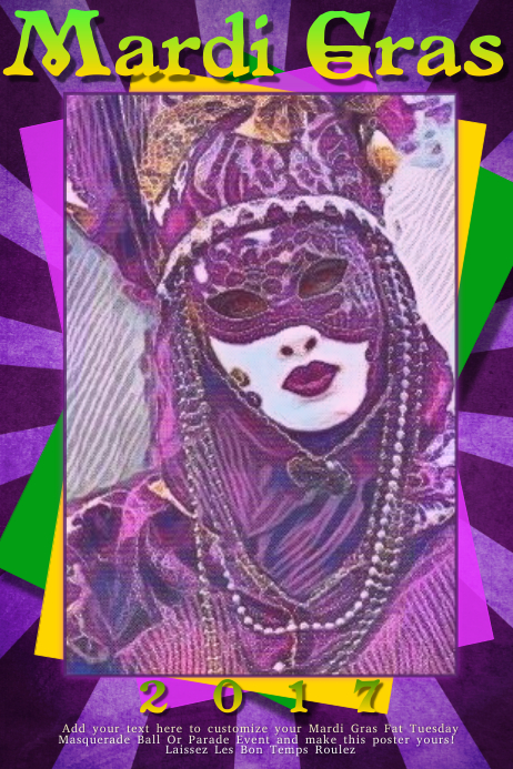 Mardi Gras Fat Tuesday Carnival Parade Ball Masquerade Party