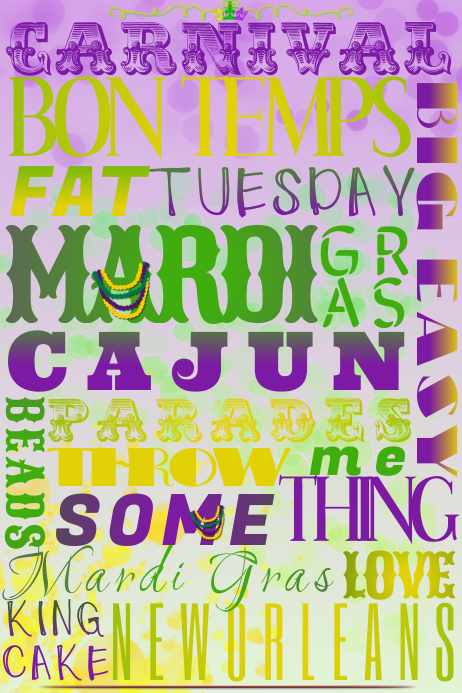 Mardi Gras Fat Tuesday Parade Word Collage Beads Purple Gold