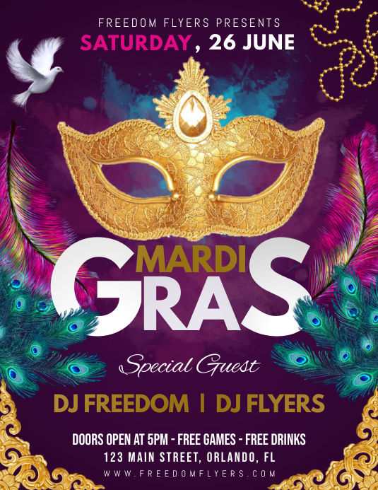 Mardi Gras Festival Party Flyer Template