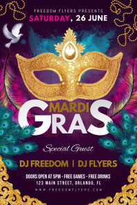 Mardi Gras Festival Party Poster Template