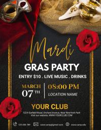 Mardi Gras Flyer, Carnival, Masquerade Рекламная листовка (US Letter) template